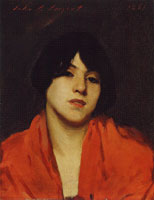 John Singer Sargent Head of a Venetian Model in a Scarlet Shawl
