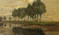 Piet Mondriaan Bend in the Gein with Row of Eleven Poplars III