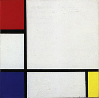 Piet Mondrian Composition No. IV, with Red, Blue, and Yellow