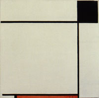 Piet Mondrian Composition with Black, Red, and Gray