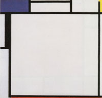 Piet Mondrian Composition with Blue, Yellow, Black, and Red