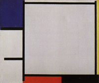 Piet Mondrian Composition with Blue, Yellow, Red, Black, and Gray