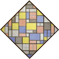 Piet Mondrian Composition with Grid 6: Lozenge Composition with Colours