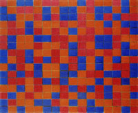 Piet Mondrian Composition with Grid 8: Checkerboard Composition with Dark Colours