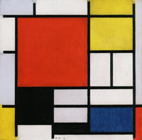 Piet Mondrian Composition with Large Red Plane, Yellow, Black, Gray, and Blue