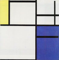 Piet Mondrian Composition with Yellow, Blue, and Blue-White