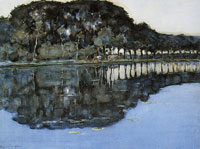 Piet Mondriaan Geinrust Farm with Two Cows at the Water's Edge