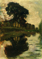 Piet Mondriaan Landzicht Farm with Reflection in the Water