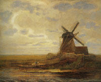 Piet Mondriaan Oostzijdse Mill with Panoramic Sunset, Mill at Right