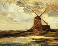 Piet Mondriaan Oostzijdse Mill with Panoramic Sunset and Brightly Reflected Colours