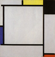 Piet Mondrian Tableau 2, with Yellow, Black, Blue, Red, and Gray