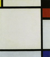 Piet Mondrian Tableau No. X, with Yellow, Black, Red, and Blue