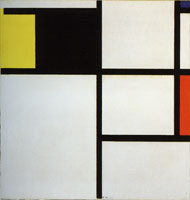 Piet Mondrian Tableau with Yellow, Black, Blue, Red, and Gray