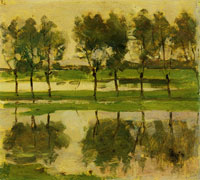 Piet Mondriaan Row of Eight Young Willows Reflected in the Water