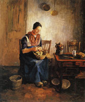 Piet Mondriaan Woman Peeling Potatoes