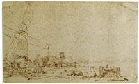 Pieter de With Windmill with a Group of Houses