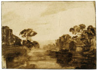 Rembrandt River with Trees