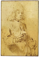 Rembrandt Young Man Holding a Flower