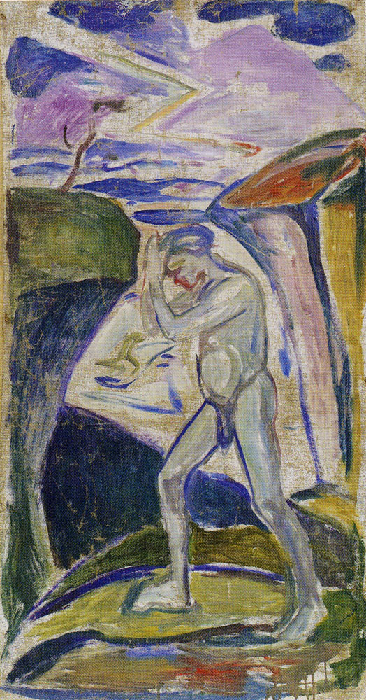 Edvard Munch - Naked Man in Rocky Landscape