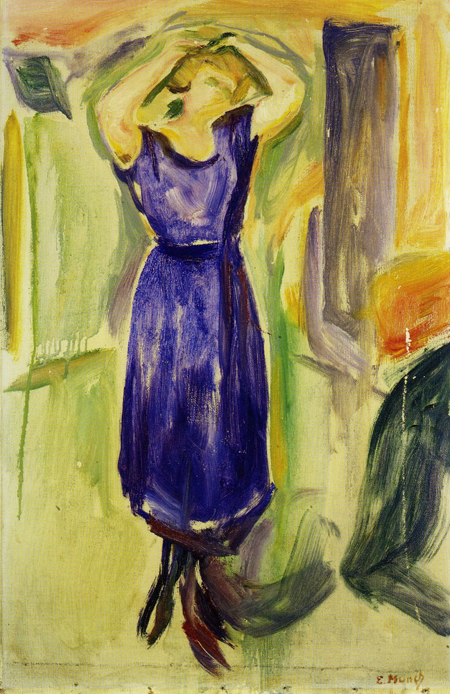 Edvard Munch - Woman in a Blue Dress with Her Arms Over Her Head