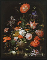 Abraham Mignon Vase of Flowers with Insects