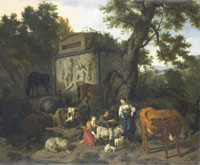 Dirck van Bergen Landscape with Herdsmen and Livestock near a Mausoleum