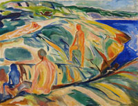 Edvard Munch Bathing Men on Rocks