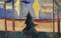 Edvard Munch Beach Landscape with Trees and Boats