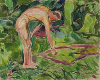 Edvard Munch Male Nude Leaning Forwards in the Woods
