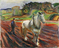 Edvard Munch Man Ploughing with a White Horse