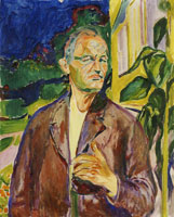 Edvard Munch Self-Portrait in Front of the House Wall