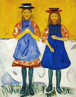 Edvard Munch Two Girls with Blue Aprons