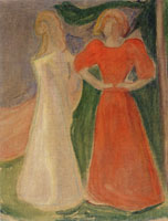 Edvard Munch Two Young Women in Red and White (the Reinhardt Frieze)