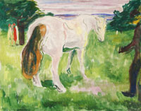 Edvard Munch White Horse in a Green Meadow