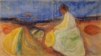 Edvard Munch Woman in White Sitting on the Beach