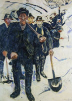 Edvard Munch Workers in Snow