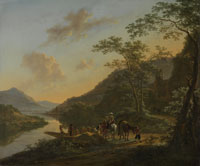 Jan Both Italian Landscape with Ferry