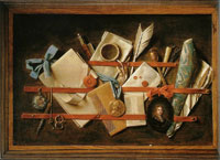 Samuel van Hoogstraten Feigned letter Rack with Self-Portrait and an English Almanac
