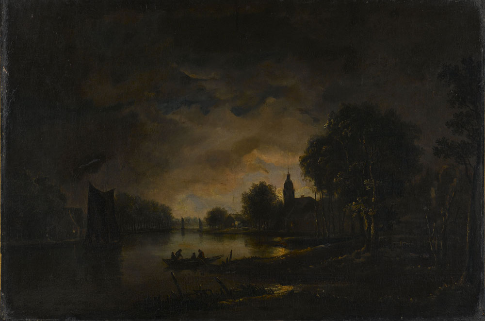 Manner of Aert van der Neer - River Landscape by Moonlight with Trees to the Right