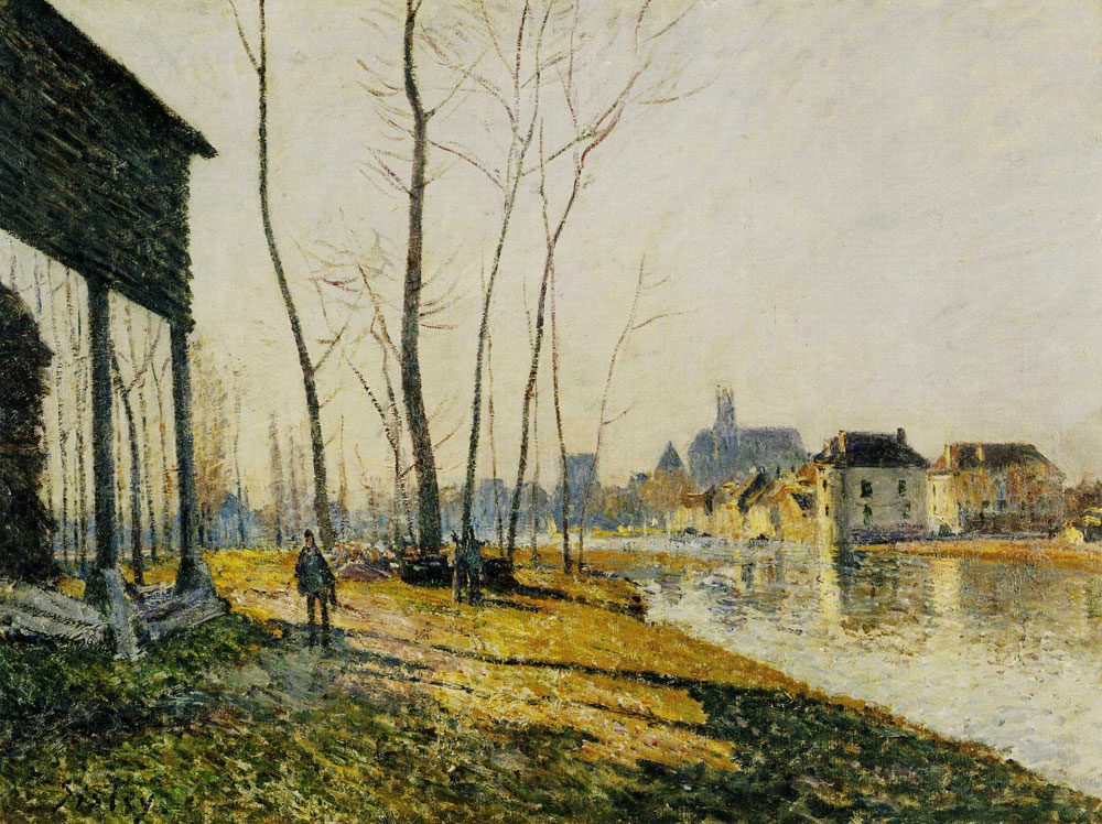 Alfred Sisley - A February Morning at Moret-sur-Loing