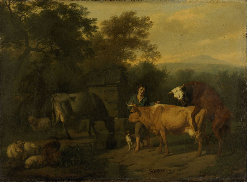 Dirck van Bergen - Landscape with a Drover and Cows