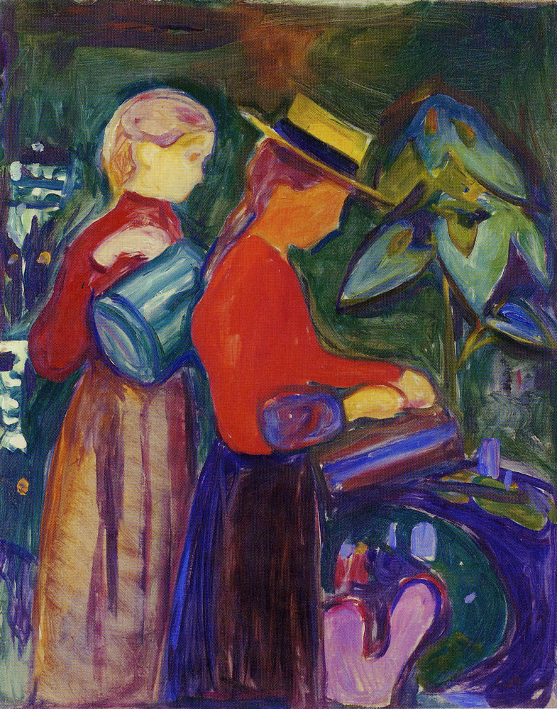Edvard Munch - Girls Watering Flowers (the Linde Frieze)