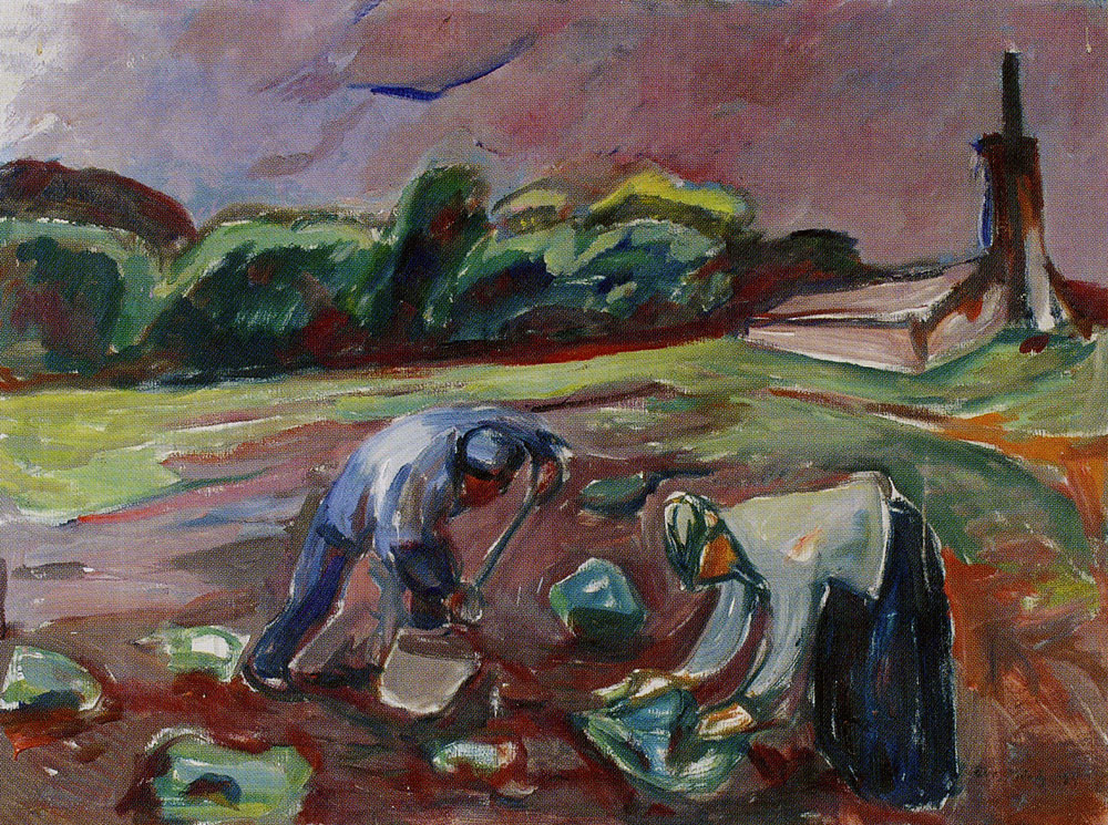 Edvard Munch - At Work by the Greenhouse