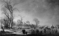 Aert van der Neer Winter Scene with City Dwellers near a Village on a Stretch of Frozen Water to the Right