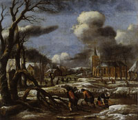 Aert van der Neer Winter Landscape with Three Figures Gathering Wood