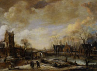 Aert van der Neer Winter Scene with a Frozen Moat near City Walls and a Tower