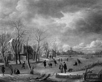 Copy after Aert van der Neer Winter Landscape near Farms on the Left Bank