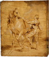 Attributed to Anthony van Dyck A Man Mounting a Horse