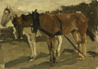 George Hendrik Breitner A Brown and a White Horse in Scheveningen