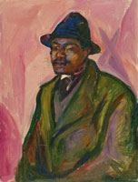 Edvard Munch African in Green Coat